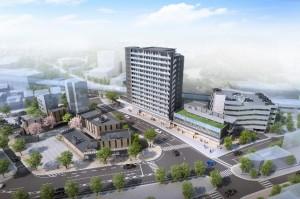 再開発地区イメージ図。高層建築物の住宅棟一体が一番地区。