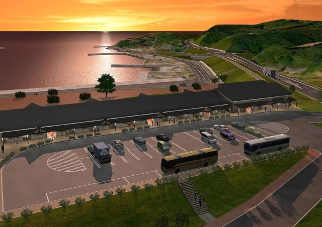 大島ウェルカムターミナルの鳥瞰イメージ