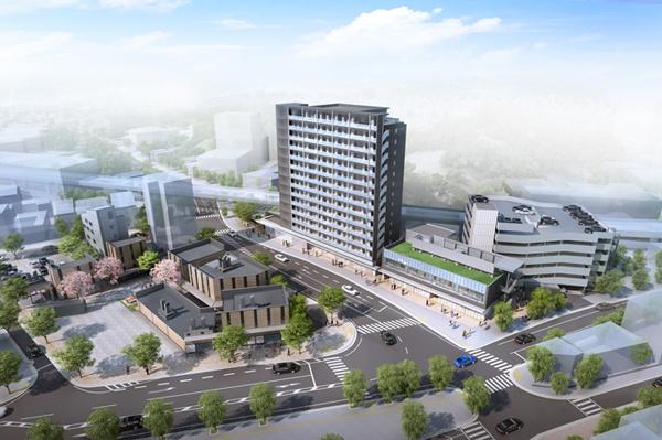 再開発事業のイメージ図。中央の高層棟が1番地の住宅棟