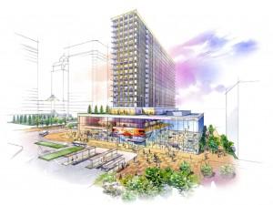 ロイヤルリースが提案した、新たな複合的商業施設のイメージパース