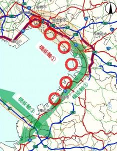「機能軸①」に当たる湾岸地区道路の検討を進める