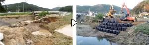 20mにわたって決壊した石貝川の堤防(写真左)を、只野組が土のうを積んで応急復旧した(写真右)
