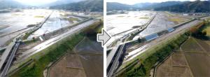 新川における堤防復旧の施工状況と完成状況(写真提供=国土交通省東北地方整備局)