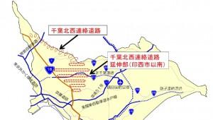 千葉北西連絡道路の位置図