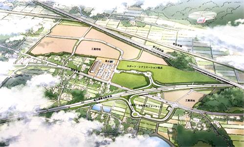 白石中央スマートIC周辺整備基本計画のパース図